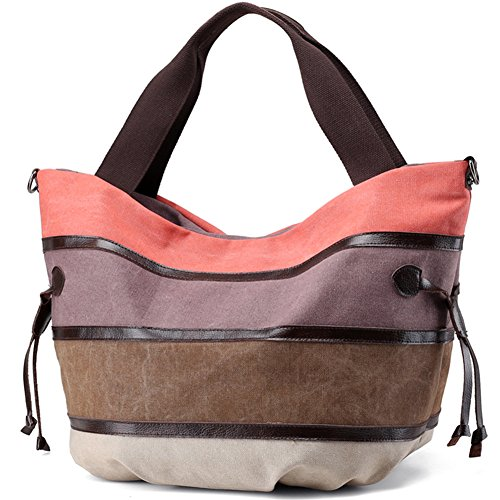 Tatuer Women Big Handbag Multicolor Stripe Leisure Canvas Shoulder Bag