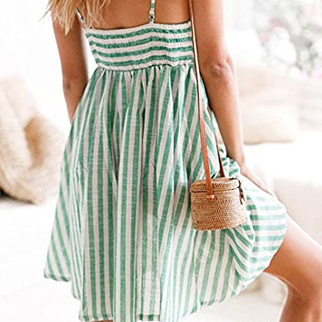 Lananas Women 2018 Summer Sleeveless Striped Pattern High Waist Bowknot Tie Dress Beach Party Green Dress at Amazon Womens Clothing store: