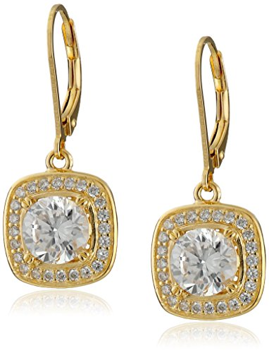 18K Gold Plated Sterling Silver Cubic Zirconia Halo Set Lever Back Drop Earrings (2.98 - 18k Earrings Gold Yellow