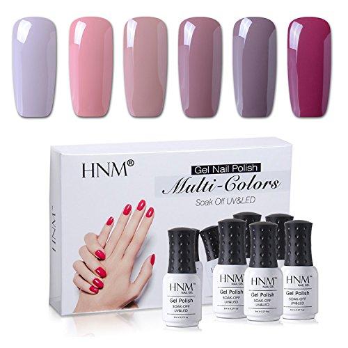 HNM Nail Gel Polish 6 Colors Set Soak Off UV LED Nail Art Gift Box Starter Kit Nude Series