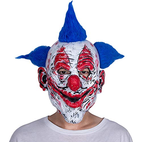 1978 Halloween Mask Painted (Traioy Halloween Blue-Haired Clown Mask, Latex Horror Rotten Blush Nose Hood Dance Party Role-Playing)