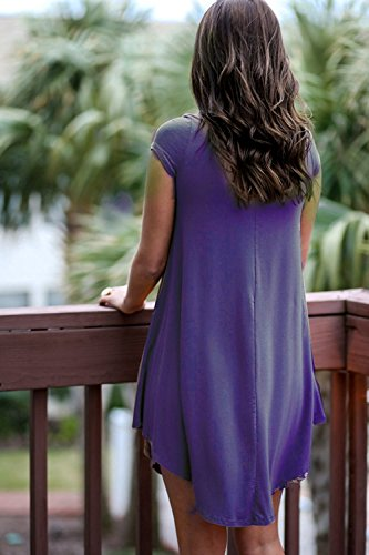 Women's Loose Fit DEARCASE Casual Shirt Dress Tunic T Sleeve Short Purple ZpxpOUn