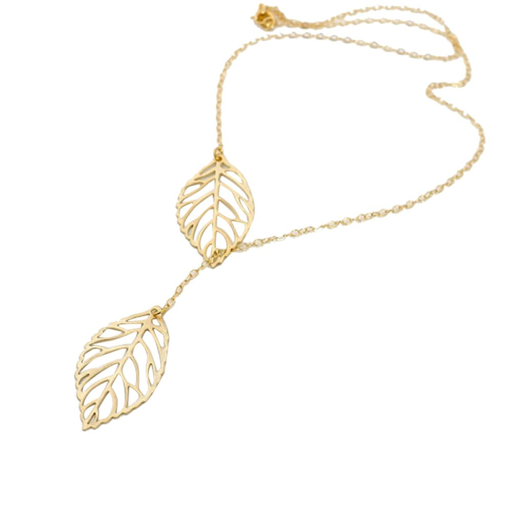 Womens Necklace Simple Metal Double Leaf Pendant Necklace Gift for Friend Mom Lover Mixpiju (Gold)