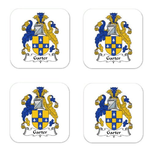 (Garter Family Crest Square Coasters Coat of Arms Coasters - Set of)
