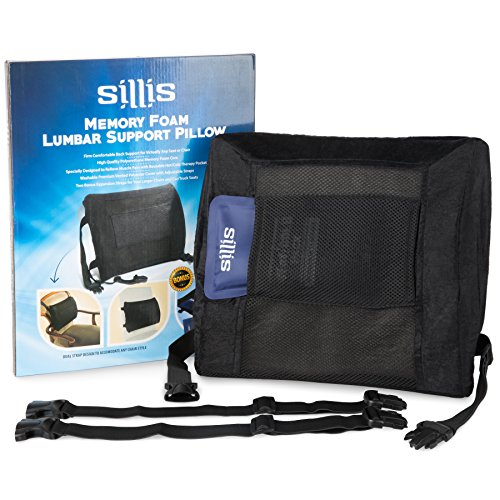 Sillis Memory Foam Back Support Pillows: Office Desk Chair or Car Seat Lumbar Pillow - Rest Cushion to Relieve Lower Back & Muscle Pain with Adjustable Straps - Includes Hot & Cold Gel Pack