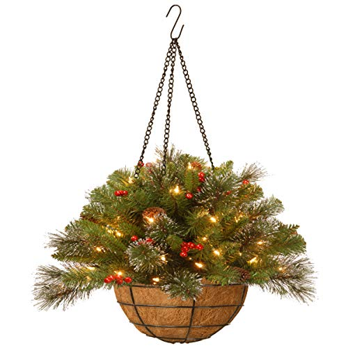 National Tree 16 Inch Crestwood Spruce Hanging Basket with Silver Bristle, Cones Red Berries and 50 Battery Operated Warm White LED Lights (CW7-300-20H-B1), 16-Inch (Hanging Baskets Lighted)