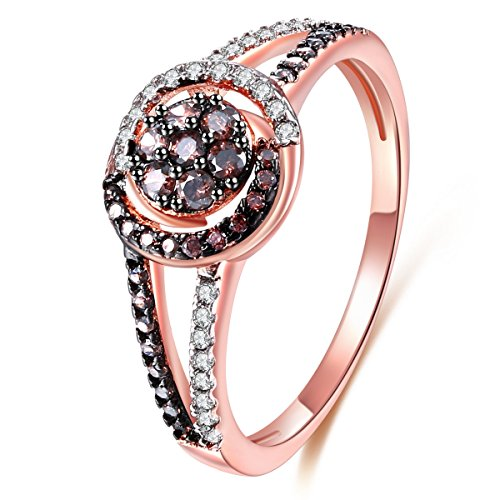 Jiangyue Lady Rings Coffee Cubic Zirconia Rhodium Rose Gold Black Plated Round Shape Party Ring Jewelry Size 10