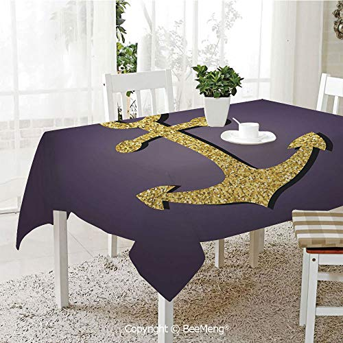(BeeMeng Spring and Easter Dinner Tablecloth,Anchor Pattern with Golden Alluring Filling Tranquility Peace Artistic Display Print Decorative,Plum Gold59 x 83 inches)