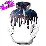 NEWCOSPLAY Unisex Harajuku Realistic 3D Digital Print Pullover Hoodie Hooded Sweatshirt Sweaters (XXL, Galaxy Paint)