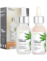 Day & Night Duo Bundle - Vitamin C Serum & Retinol Serum - Natural & Organic Anti Aging Formula for Face - Improve Skin Texture & Glow - Reduce Fine Lines Dark Spots Hyperpigmentation - InstaNatural