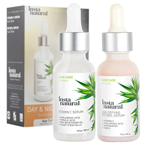 Day Serum - Day & Night Duo Bundle - Vitamin C Serum & Retinol Serum - Natural & Organic Anti Aging Formula for Face - Improve Skin Texture & Glow - Reduce Fine Lines Dark Spots Hyperpigmentation - InstaNatural
