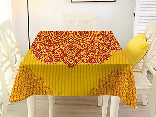 L'sWOW Square Tablecloth Sequins Ethnic Abstract Floral Ornamental Framework Detail Grunge Background Traditional Design Red Yellow Chairs 60 x 60 Inch