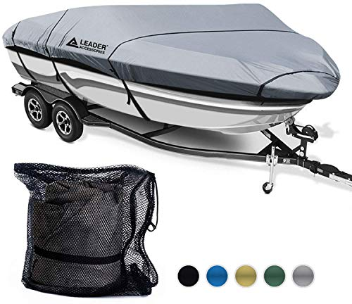 Leader Accessories 600D Polyester 5 Colors Waterproof Trailerable Runabout Boat Cover Fit V-Hull Tri-Hull Fishing Ski Pro-Style Bass Boats,Full Size (16'-18.5'L Beam Width up to 94'', Grey) (Renewed)