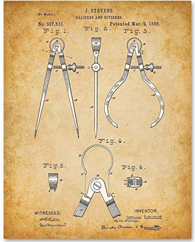 Calipers and Dividers - 11x14 Unframed Patent Print - Makes a Great Gift Under $15 for Architects, Engineers and Designers from Personalized Signs by Lone Star Art