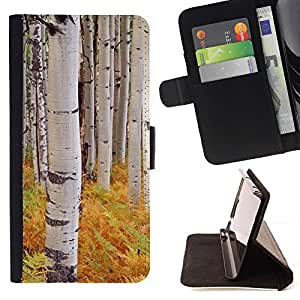 For Samsung Galaxy S5 Mini (Not S5), SM-G800 Case , Helechos árboles de abedul Naturaleza Amarillo- la tarjeta de Crédito Slots PU Funda de cuero Monedero caso cubierta de piel