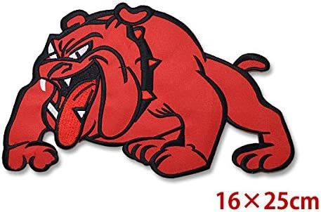 アイロン接着出来ます ワッペン ブルドッグ 赤 RED 犬 バッジ エンブレム パッチ アップリケ 大きいサイズ