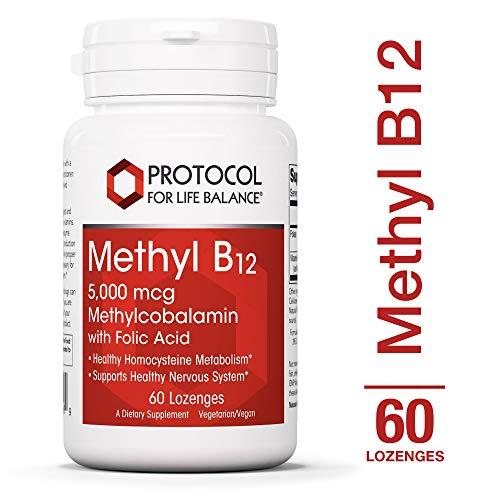 Protocol For Life Balance - Methyl B12 5,000 mcg Methylcobalamin with Folate (Folic Acid) - Supports Homocysteine Metabolism, Healthy Nervous System, Brain Function, Digestive System - 60 Lozenges