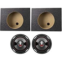 2) Boss P100F 10 2400W Car Shallow/Slim Subwoofer + 2) 10 Single Sealed Boxes