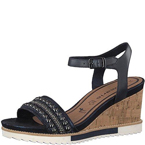Tamaris Ladies Wedge Sandal 1-28336-20-890 Navy Blue Blau