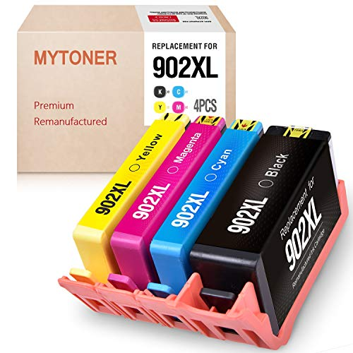 Mytoner Remanufactured Ink Cartridge Replacement for HP 902XL 902 XL 902 Ink Cartridges Version-5 (Black Cyan Yellow Magenta, 4-Pack) (Hp Officejet Pro 6960 Ink Cartridge Refill)
