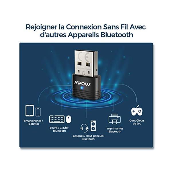 Mpow Bluetooth USB, Adaptateur Bluetooth 5.0, Dongle sans Fil Clé pour PC, Souris, Clavier, Casques, Enceintes…