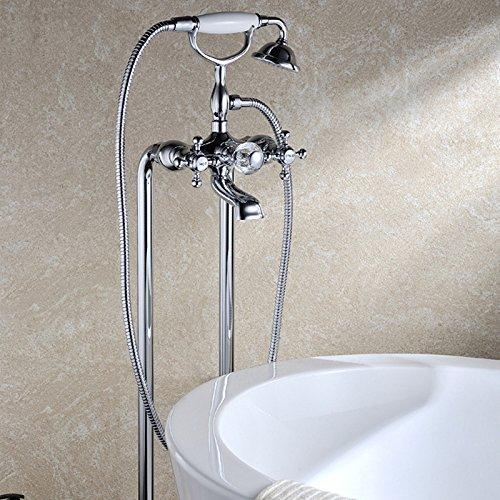 JiaYouJia Chrome Freestanding Bathtub Filler Faucet with Hand Shower