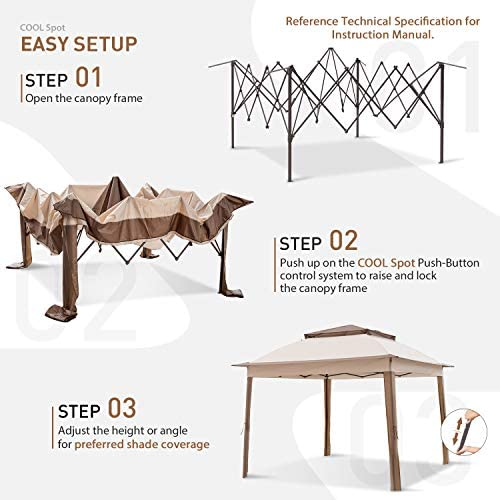 COOL Spot 11 x11 Pop-Up Gazebo Tent Instant with Mosquito Netting Outdoor Gazebo Canopy Shelter with 121 Square Feet of Shade Beige