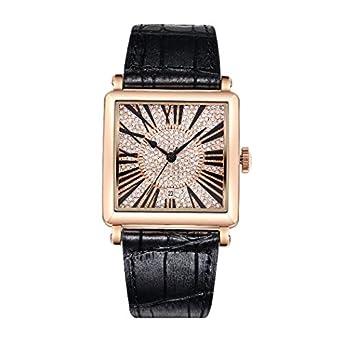 Matisse Damen Fashion Full Kristall Zifferblatt Lederband Quarzuhr Armbanduhr – Schwarz