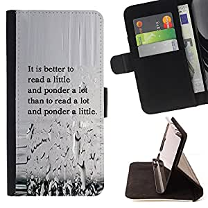 BullDog Case - FOR/LG OPTIMUS L90 / - / read ponder thought think quote lfe wisdom /- Monedero de cuero de la PU Llevar cubierta de la caja con el ID Credit Card Slots Flip funda de cuer