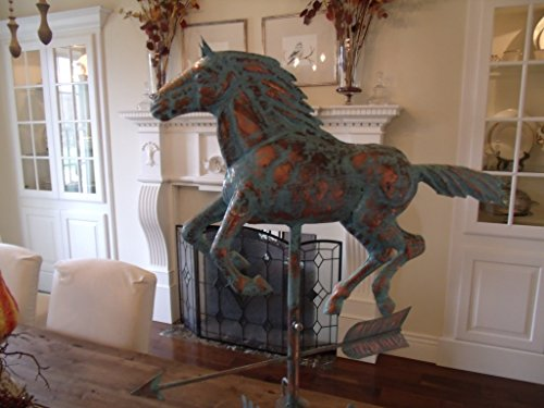 Large Horse Weathervane - LARGE Handcrafted 3D 3- Dimensional Running HORSE Weathervane Copper Patina Finish