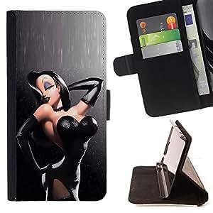 - Queen Pattern FOR HTC One M8 /La identificaci????n del cr????dito ranuras para tarjetas tir????n de la caja Cartera de cuero cubie - sexy leather push up black hair woman -