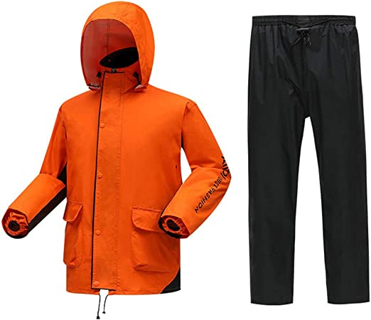 Unisex Rain Jacket Pants Set Outdoor Waterproof Reflective Riding Cloth Raincoat