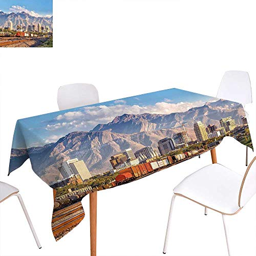 familytaste Landscape Dinning Tabletop Decoration Downtown Salt Lake City Skyline in Utah USA Railroads Mountains Buildings Urban Table Cover for Kitchen 54