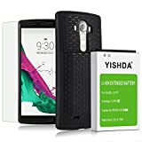LG G4 Battery Case,YiSHDA 6600mAh Extended Li-ion Battery for LG G4 BL-51YF with Back Cover & Protective Case Including LG G4 Tempered Glass Screen Protector