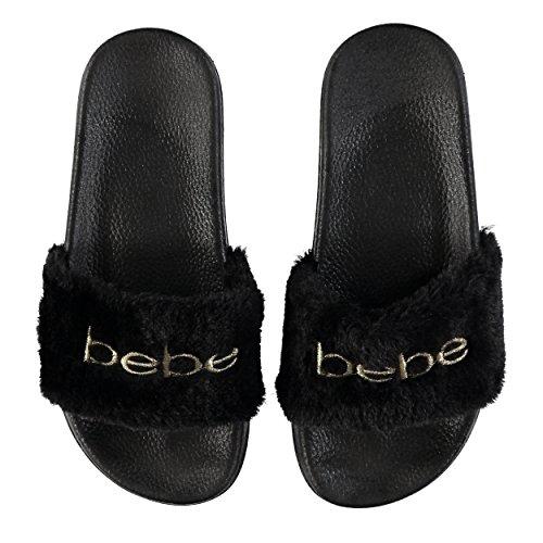f0dc9b7f76c Bebe Girls Faux Fur Embroidered Slides Sandal (11 12