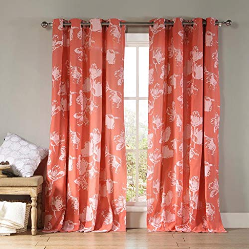 Kensie - Aster Floral Cotton Blend Grommet Top Window Curtains for Living Room & Bedroom - Assorted Colors - Set of 2 Panels (54 X 84 Inch - Burnt Coral)