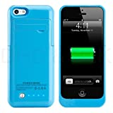NOKKOO External Battery Case 2200 Mah Universal Slim Case Battery Rechargeable Backup Case Charger Battery Case Cover Portable Outdoor Moving Battery Slim Light Lights and Built-in Pop-out Kickstand Holder Support IOS 6 IOS 7 IOS 8 Short Circuit Protection for Iphone 5 Iphone 5s Iphone 5c Blue (Blue)