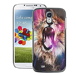 A-type Arte & diseño plástico duro Fundas Cover Cubre Hard Case Cover para Samsung Galaxy S4 (Lion Purple Roar Yawn Fur Africa Abstract)