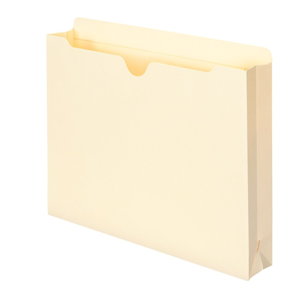 Smead File Jacket, Reinforced Straight-Cut Tab, 2'' Expansion, Letter Size, Manila, 50 Per Box (75560)
