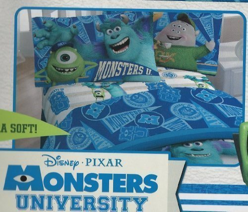 Disney PIXAR MONSTERS UNIVERSITY 3 Piece Twin Sheet Set (Monster University Bed Set)