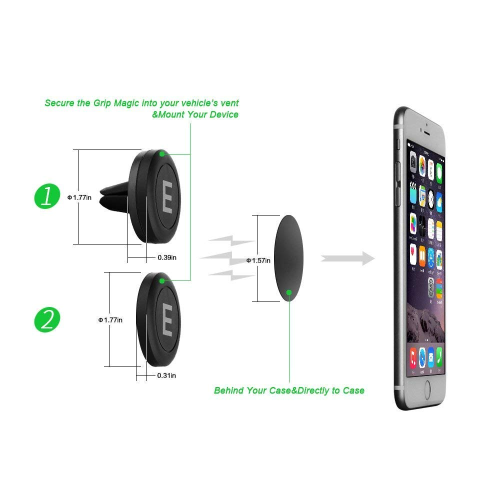 ELECCTV Car Phone Holder, Universal Air Vent Magnetic Cell Phone Mount for Smartphone Devices, Black, 1+1