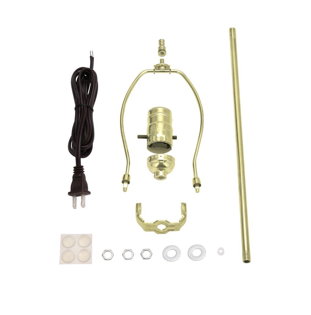 Aspen Creative 21026, Make-A-Lamp Kit in Brass, 1 Pack