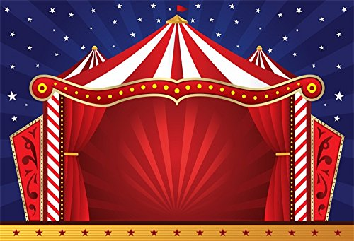 LFEEY 10x8ft Circus Photography Backdrop Red Tents Night Stars Carnival Photo Background Baby Kids Child Birthday Party Decor Wallpaper Photo Booth Studio Props ()