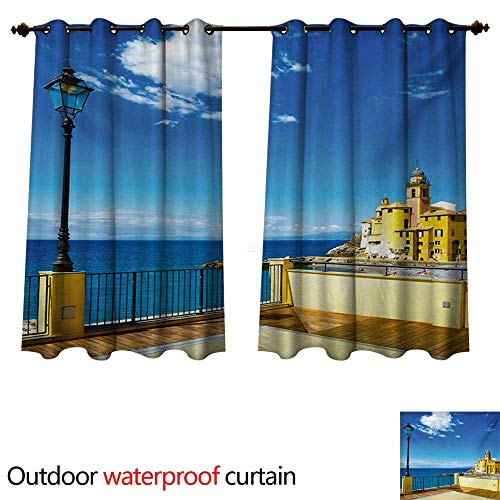 WilliamsDecor Italian Outdoor Balcony Privacy Curtain Camogli Building Sea Lamp and Balcony Tourist Spot in Ligury Italy Print W63 x L63(160cm x 160cm)