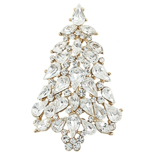 Crystal Tree Brooch - EVER FAITH Party Wishing Tree Teardrop Clear Austrian Crystal Brooch Pin Gold-Tone