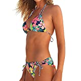 Women's Bathing Suit Brazilian Floral Print Backless Bikini Set Swimwear Halter Vest Tops Beach Swimsuit Red