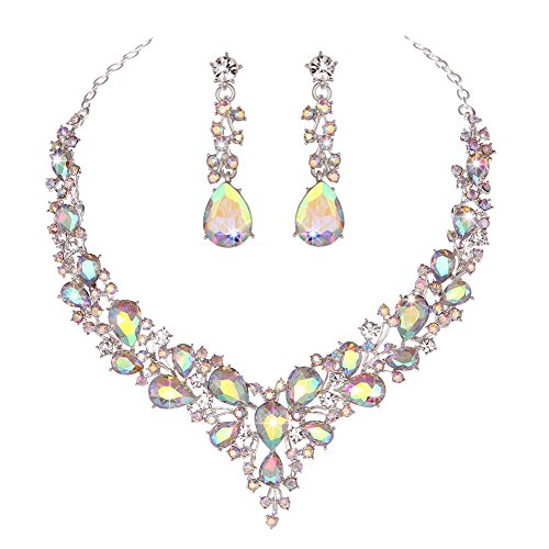 Youfir Bridal Austrian Crystal Necklace and Earrings Jewelry Set Gifts fit with Wedding Dress(Crystal AB)