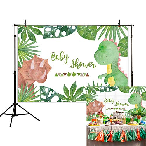 Allenjoy 7x5ft Cartoon Dinosaur Baby Shower Newborn Party Backdrop Jungle Tropical Rainforest Photography Background Palm Monstera Leaves Photo Studio Booth Kids Cake Table -