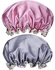CoWalkers Gorro de Ducha, Gorro de Ducha Impermeable para Mujer Gorro elástico de baño de Doble Capa - Impermeable - Doble Capa (2 Piezas)