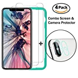 iPhone X Screen Protector, Screen and Camera Protector Combo [Pack 4] X-idea 5-Times Enhanced Tempered Glass, Anti-Shatter Anti-Scratch/9H Hardness Rating for iPhone X iPhone 10 5.8-inch 2017 release